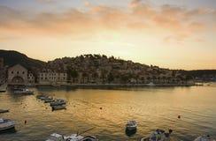 Town Hvar  (Croatia). Bay of town Hvar at sunset (Croatia Royalty Free Stock Photos