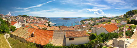 Town of Hvar old rooftops panorama Stock Images