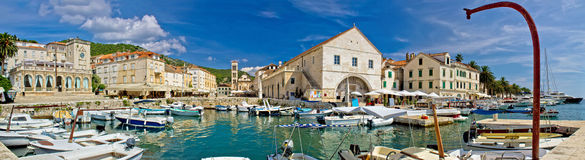 Town of Hvar panoramic waterfront view Stock Photos