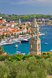 Town of Hvar yacht harbor Stock Photo