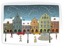 Town i vinter Royaltyfria Foton
