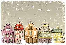 Town i vinter Royaltyfria Bilder