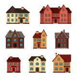 Town icon set of cottages and houses Stock Photo