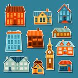Town icon set of cute colorful houses Stock Image
