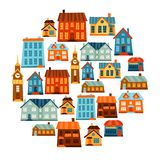 Town icon set of cute colorful houses Stock Images