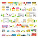Town icon stores houses vehicles Stock Images