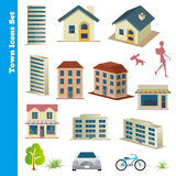 Town icons set Stock Photo