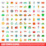 100 town icons set, cartoon style Stock Image