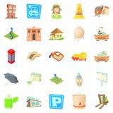 Town icons set, cartoon style Royalty Free Stock Photos