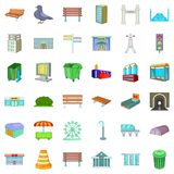 Town icons set, cartoon style Stock Images