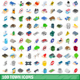 100 town icons set, isometric 3d style. 100 town icons set in isometric 3d style for any design vector illustration stock illustration