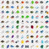 100 town icons set, isometric 3d style. 100 town icons set in isometric 3d style for any design vector illustration Stock Images