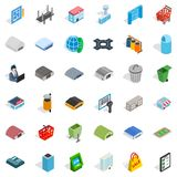 Town icons set, isometric style Stock Image