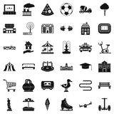 Town icons set, simple style. Town icons set. Simple style of 36 town vector icons for web isolated on white background Royalty Free Stock Photography