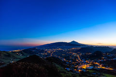Town with illumination after sunset Stock Image