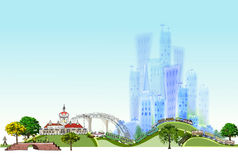 Town Illustration, City collection Royalty Free Stock Photos