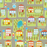 Town illustration seamless pattern Royalty Free Stock Photography