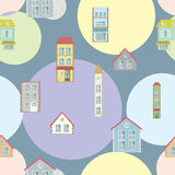 Town illustration seamless pattern Stock Photography