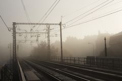 Town In Fog Stock Photography