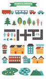 Town infographic elements. Vector city elements for create your own city map. Create your own town! Map elements for your pattern, Stock Photography