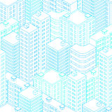 Town in isometric view. lue and white background. Town in isometric view. Seamless pattern with houses. Linear style. Blue and white background. Modern city Royalty Free Stock Photo