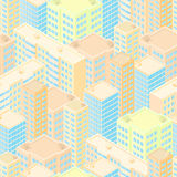 Town in isometric view. Seamless pattern with light colorful rea. Listic houses.Creative background. Modern city skyline. Blue windows and Beige walls. Vector Stock Photo