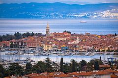 Town of Izola waterfront and bay aerial view stock photo