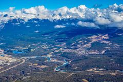 Town of Jasper from atop Whistlers mountain. Jasper National Park, Alberta, Canada Royalty Free Stock Photo