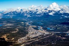 Town of Jasper from atop Whistlers mountain. Jasper National Park, Alberta, Canada Stock Images