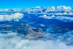 Town of Jasper through the clouds. Jasper National Park, Alberta, Canada Royalty Free Stock Photos