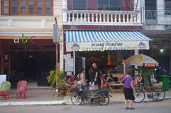 Tourist in coffe shop in Cambodia Royalty Free Stock Image
