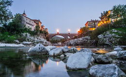 Town Kanal ob soci, Slovenia Royalty Free Stock Photo
