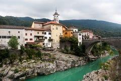 Town Kanal. The small Slovenian town Kanal stock photo