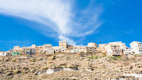 Town Kerak on stone hill, Jordan Royalty Free Stock Images