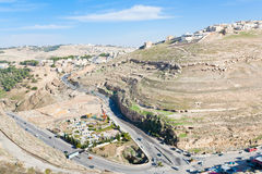 Town Kerak from stone hill, Jordan Stock Photography