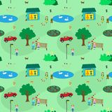 Town of kids seamless pattern Stock Image