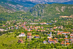 Town of Knin and Dinara mountain Royalty Free Stock Images