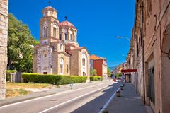 Town of Knin and Orthodox Church street view stock image