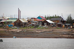 Town at Kolyma river coast Stock Photo