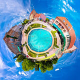 Town of Koprivnica fountain and square planet perspective panora Stock Photo