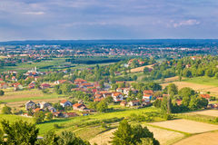 Town of Koprivnica and Podravina nature aerail view Royalty Free Stock Images