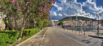 Town Korcula at Croatia - harbor Stock Images