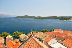 Town Korcula in island Korcula in Croatia Royalty Free Stock Photography