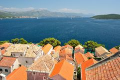 Town Korcula in island Korcula in Croatia. Birdview from cathedral of St Marco Stock Image