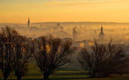 Town of Krizevci towers in fog Royalty Free Stock Photos