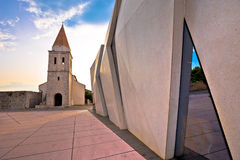 Town of Krk historic square church and modern architecture view. Kvarner region of Croatia Royalty Free Stock Photos