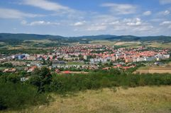 Town Krupina,Slovakia. Town Krupina and mountain Stiavnické vrchy from observation Vartovka,Slovakia Royalty Free Stock Photo