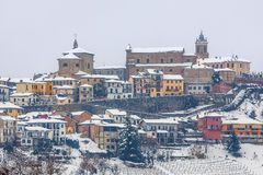 Town of La Morra in winter. Royalty Free Stock Images