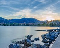 Town of La Spezia, Italy at sunset royalty free stock images
