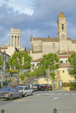 Town of La Turbie with Trophee des Alpes and church, France Stock Image